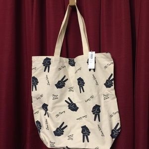 Old Navy-Canvas tote bag-Peace and Love-NWT